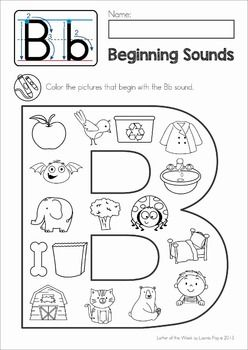 FREE Phonics Letter of the Week B. Beginning sounds Color