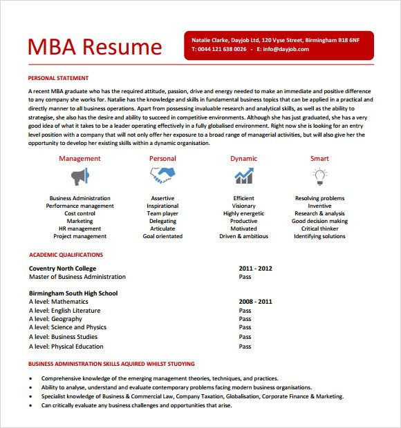 Mba Resume Example - Examples of Resumes