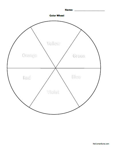 No Corner Suns: Easy first grade color wheel coloring page