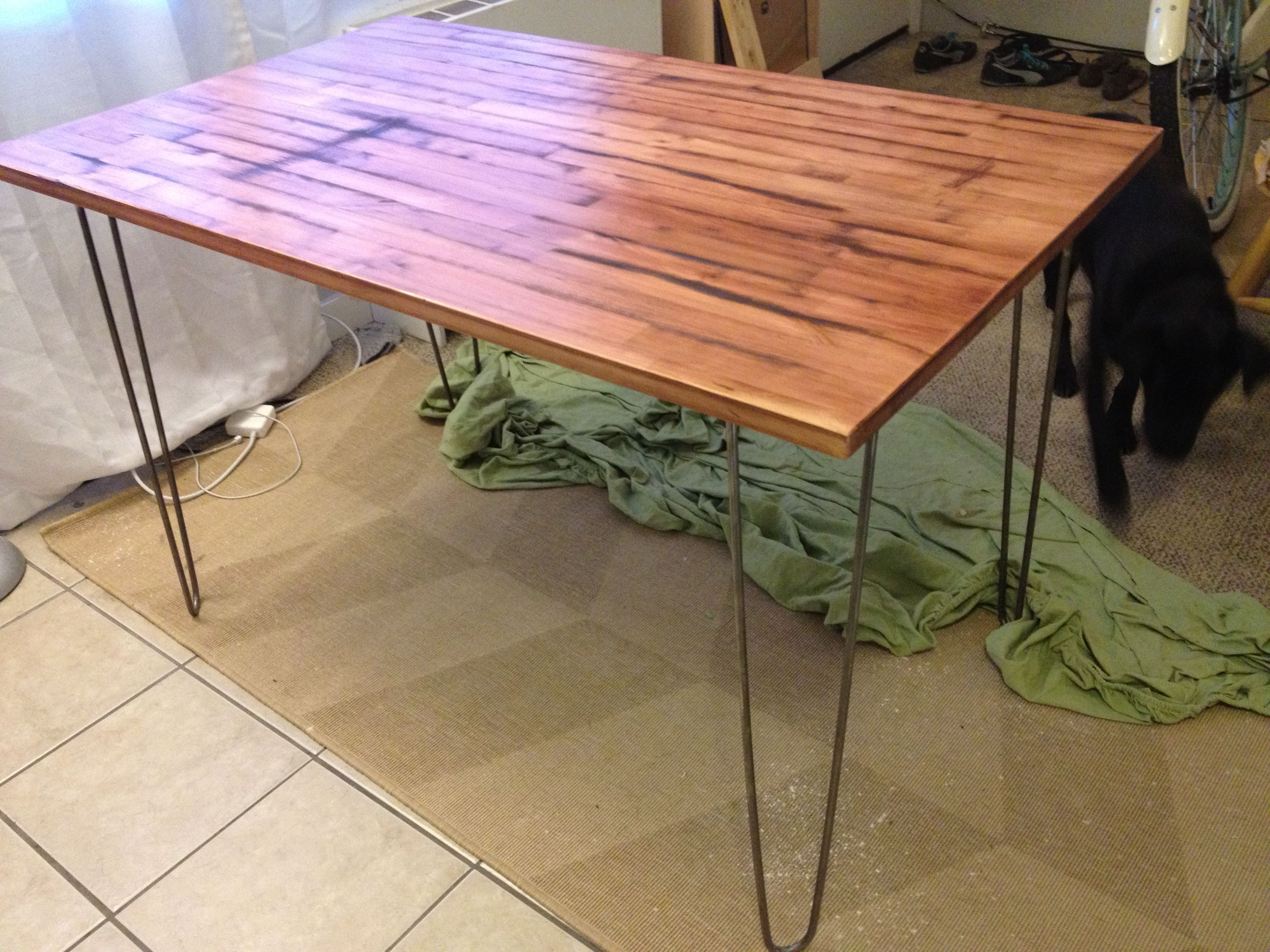 ikea table for entryway with nice industrial hairpin legs and reclaimed wood top design