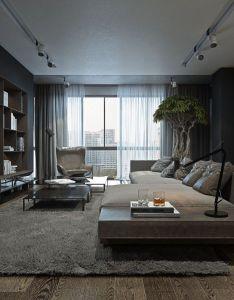 Sala da estar com decor em tons escuros also real nice apt stuff rh pinterest