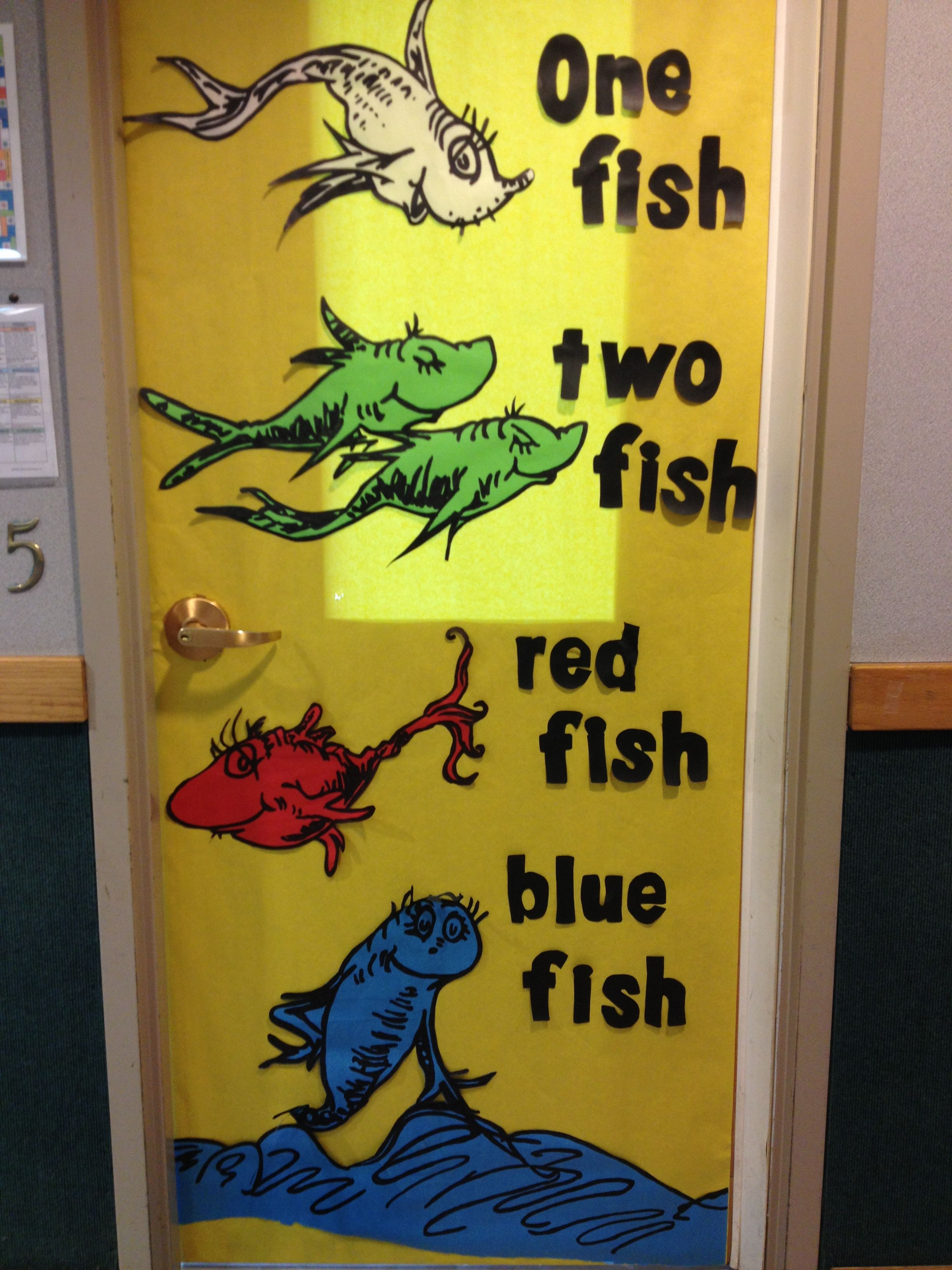 Dr Seuss One Fish Two Fish Red Fish Blue Fish Door Decoration