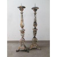Image of Antique Church Floor Candle Holders - A Pair ...