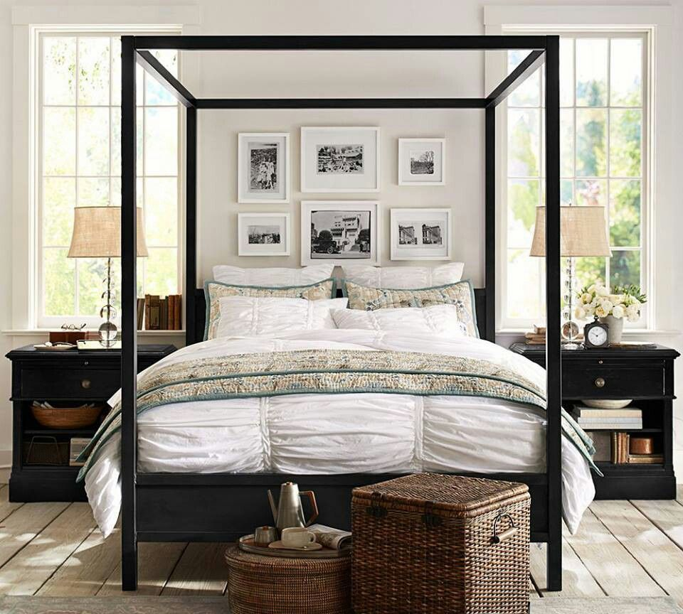 i like the picture collage above the bed. pottery barn master