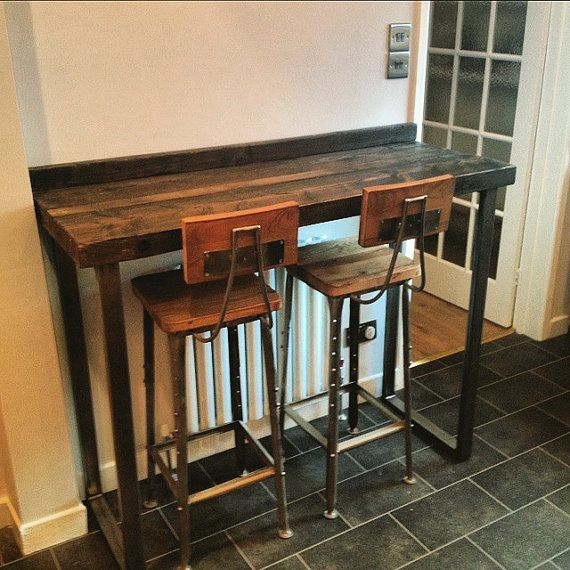 2 seater kitchen table set outdoor lighting reclaimed industrial 4 chic tall poseur table.wood ...