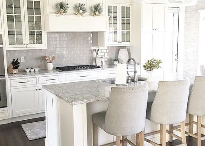 carolineondesign white kitchen shaker cabinets with grey subway tile backsplash glass front also