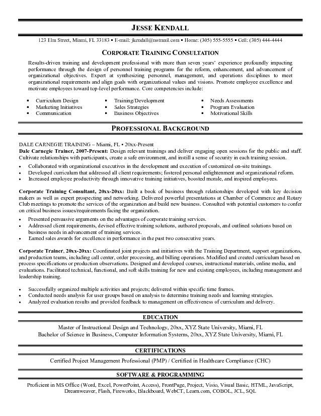 Corporate Trainer Resume Examples Examples of Resumes