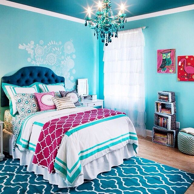 super cute girls bedroom  love the navy and the turquoise  Bedroom Ideas  Pinterest