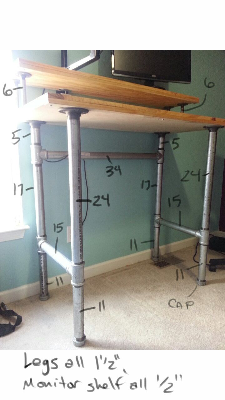 pipe and plank standing desk  Plank Pipes and Desks