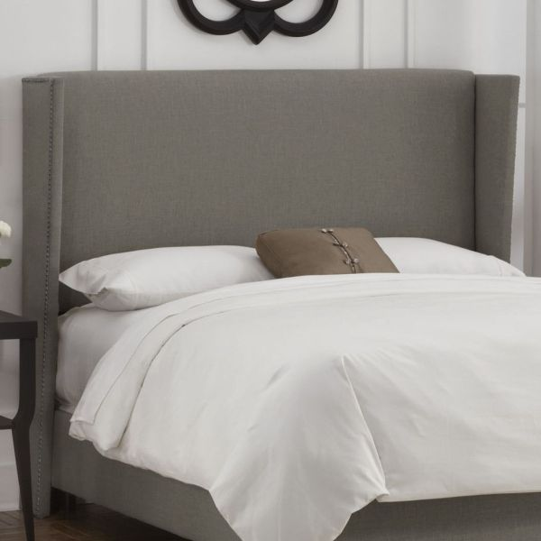 Grey King Size Upholstered Headboard