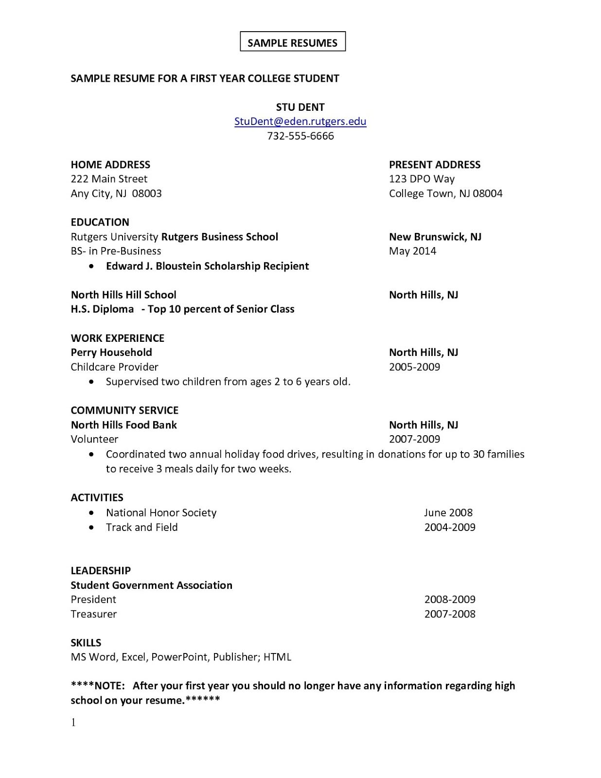 Skills For A High School Student Resume First Job Sample Resume Sample Resumes Sample Resumes