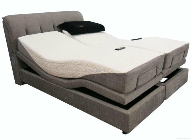 Bedroom Double Mattress Adjule Platform Bed With Gray Upholstered Headboard Surprising Electric