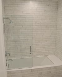 Marbel tile tub surround with gray grout | Bathroom ...