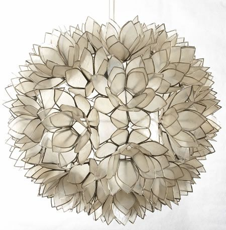 Medium Lotus Flower Chandelier Handmade In Thailand Of Natural Capiz Shells This Is A Unique