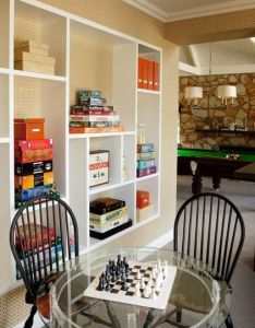Traditional family room by diane bergeron interiors idea for redoing the back wall in also basement built shelving home pinterest rh