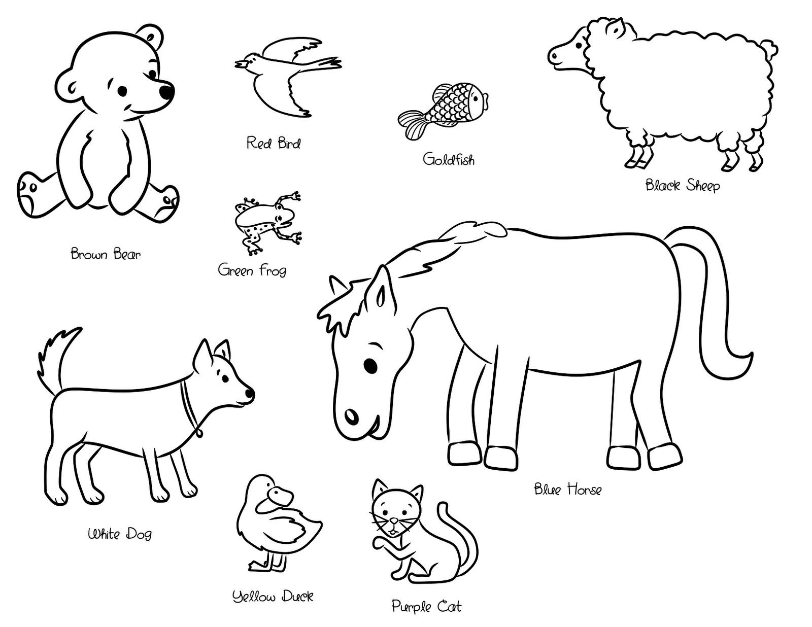 Coloring page: Brown Bear, Brown Bear, What Do You See