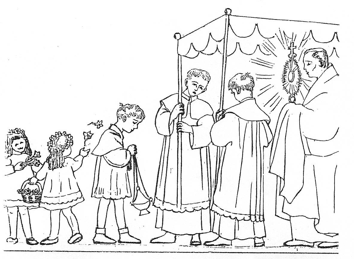 Adoration/ Procession of the Eucharist coloring page