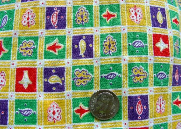 Vintage novelty cotton feed sack fabric pretty yellow background with tiny purple green  squares  also