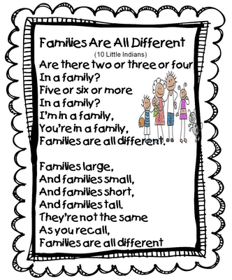 Families Are All Different Song (Tune: Ten Little Indians