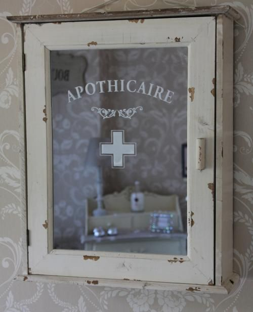 Apothicaire Bathroom Distressed Cabinet Cream Wood Chic