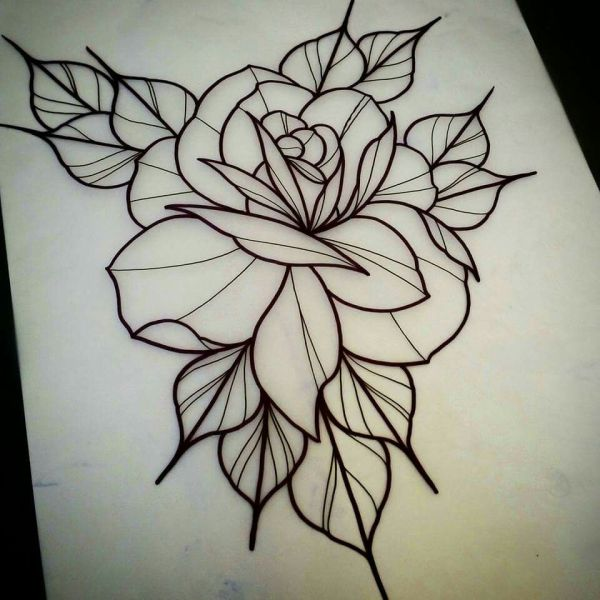 Neo Traditional Rose Tattoo Outline