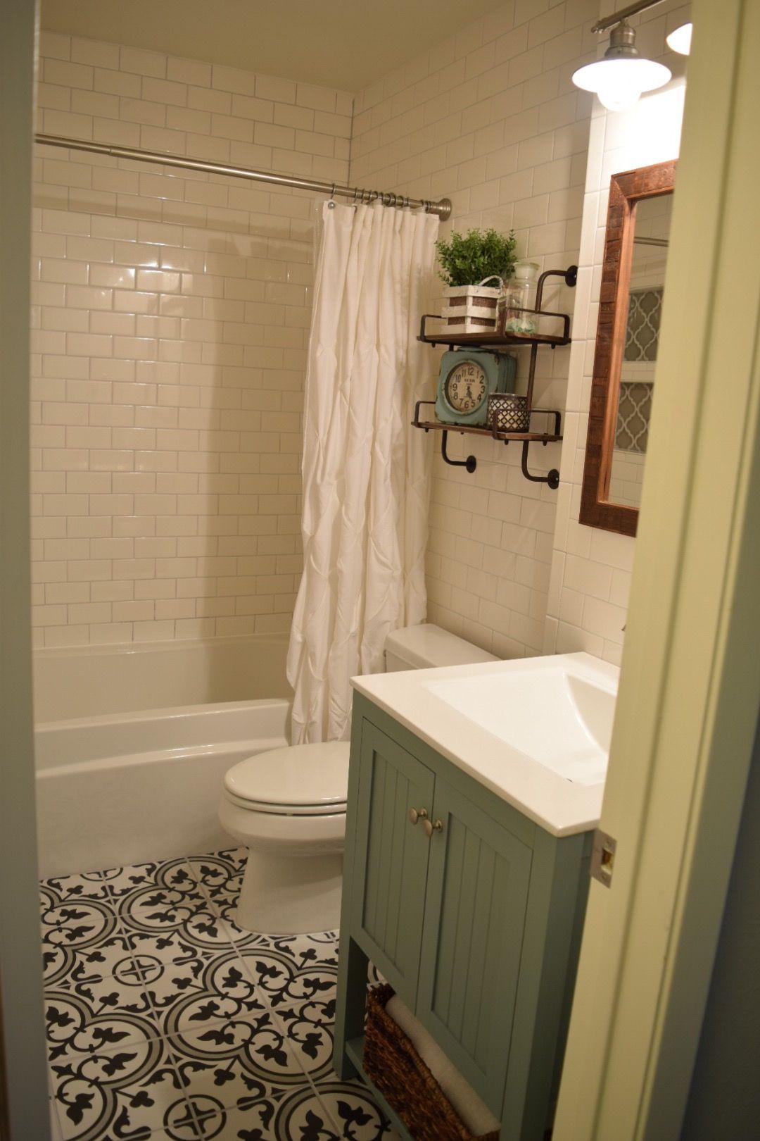 Our small bathroom remodel. Subway tile walls, Merola Tile