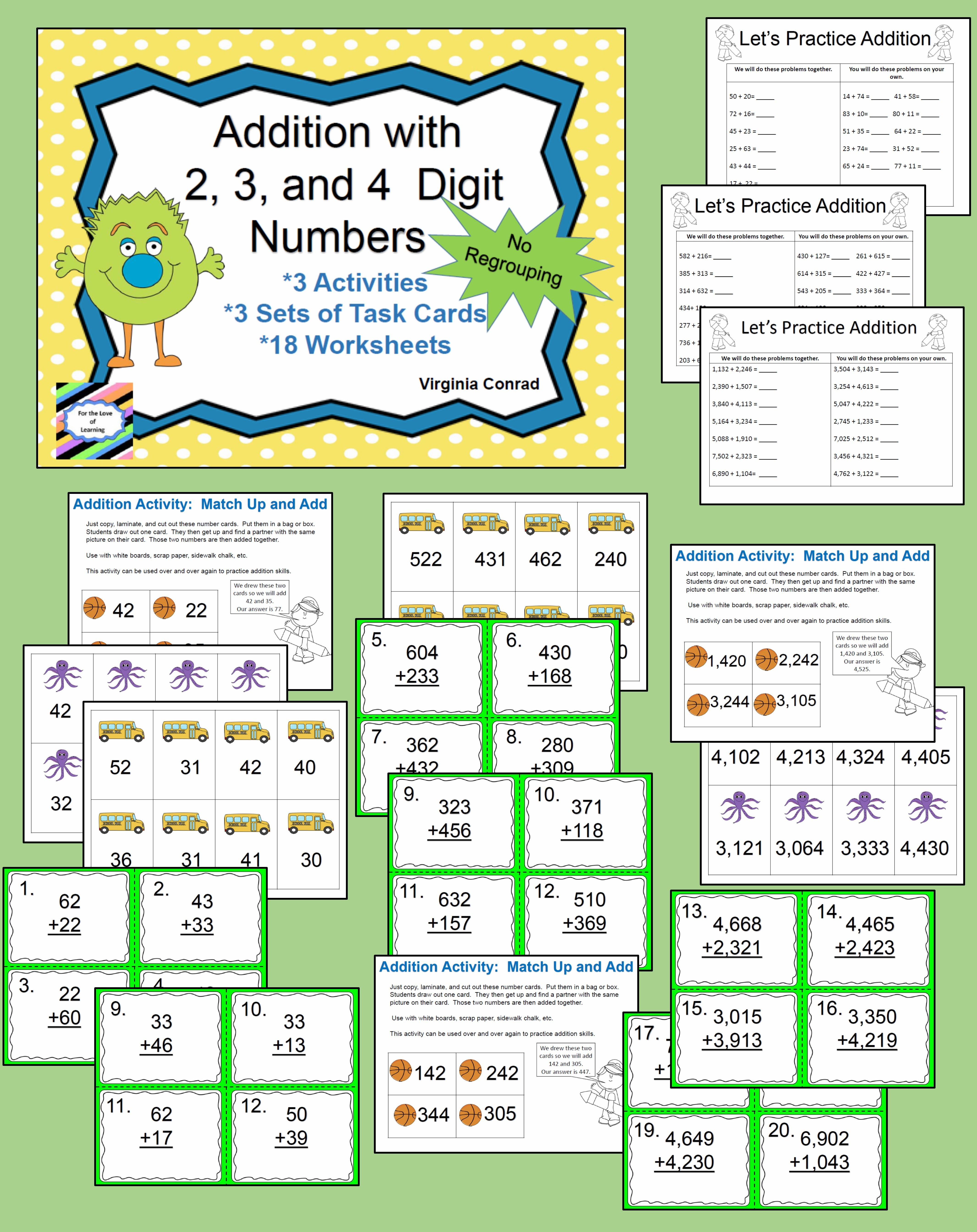 Adding 2 3 And 4 Digit Numbers Without Regrouping