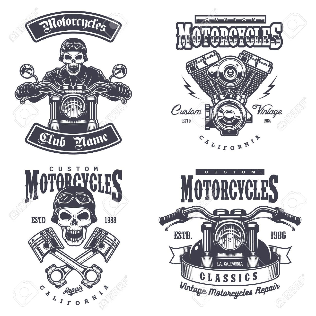 Set Of Vintage Motorcycle Emblems Labels Badges