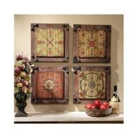 Floral Wall Art Wood Panels Rustic Kitchen Vintage Antique ...