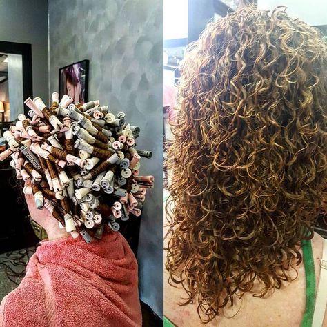 gorgeous spiral piggyback perm on various rod sizes  hair