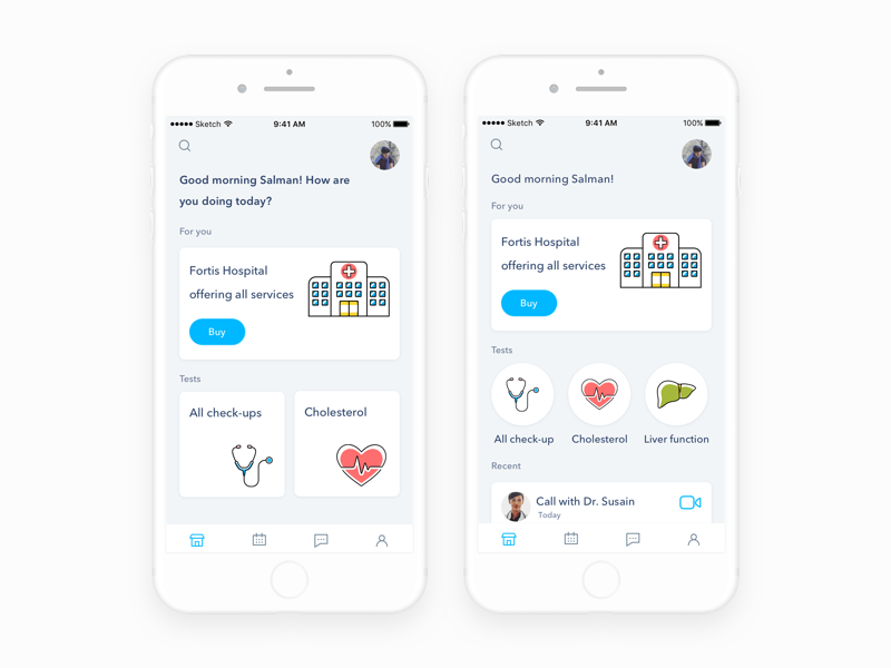 Hello dribbblers designed  home screen for health app which   ve worked on few months ago now presnting it here don  forget to press  and show some also ios apps pinterest ui design rh