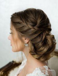 Side French Braid Low Wavy Bun Wedding Hairstyle | Side ...