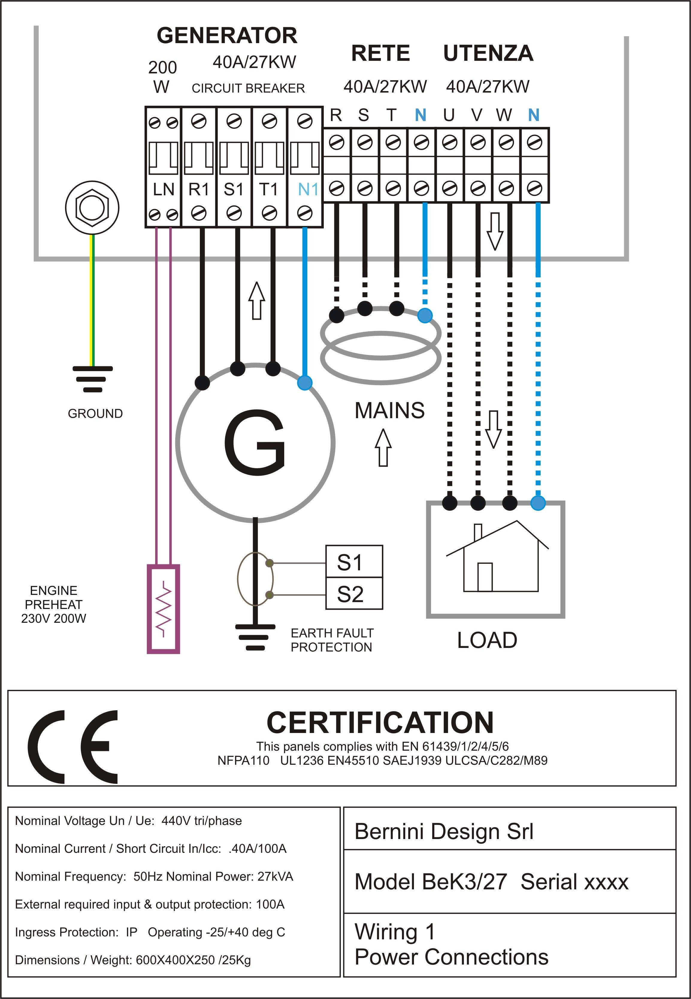 Diesel Generator Control Panel Wiring Diagram AC Connections Gr