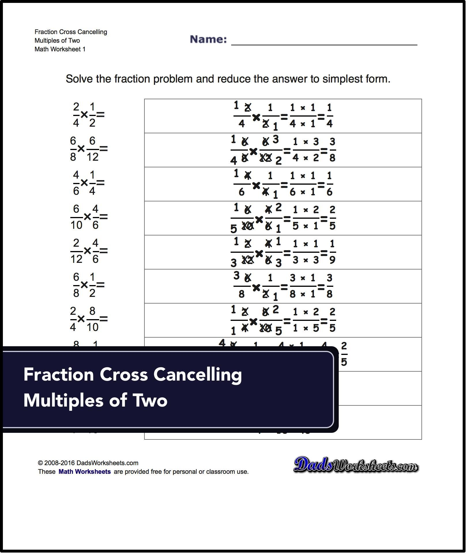 Multiplying Fractions Worksheets Fraction Multiplication