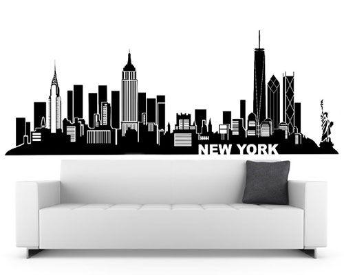 New York Wall Decal (City Skyline Theme Black Vinyl Wall