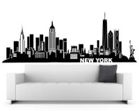 New York Wall Decal (City Skyline Theme Black Vinyl Wall