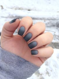 ombre black grey matte | CND shellac#Gelish#nailart ...