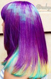 purple blue dyed hair design color