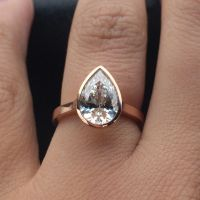 The perfect rose gold pear shaped diamond bezel engagement ...