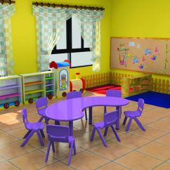 Daycare Table And Chair Set Tufted Dining Furniture Ce Certificate Moon Shape Kindergarten
