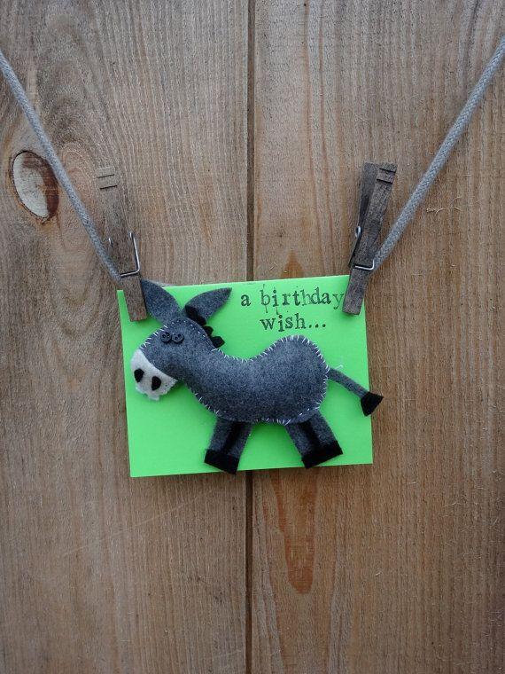 Donkey Birthday Wish Card By KitschyandSweet On Etsy 5