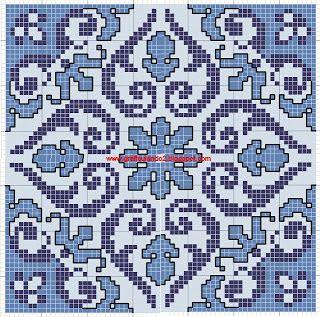 ponto cruz azulejo portugues  Tapetes