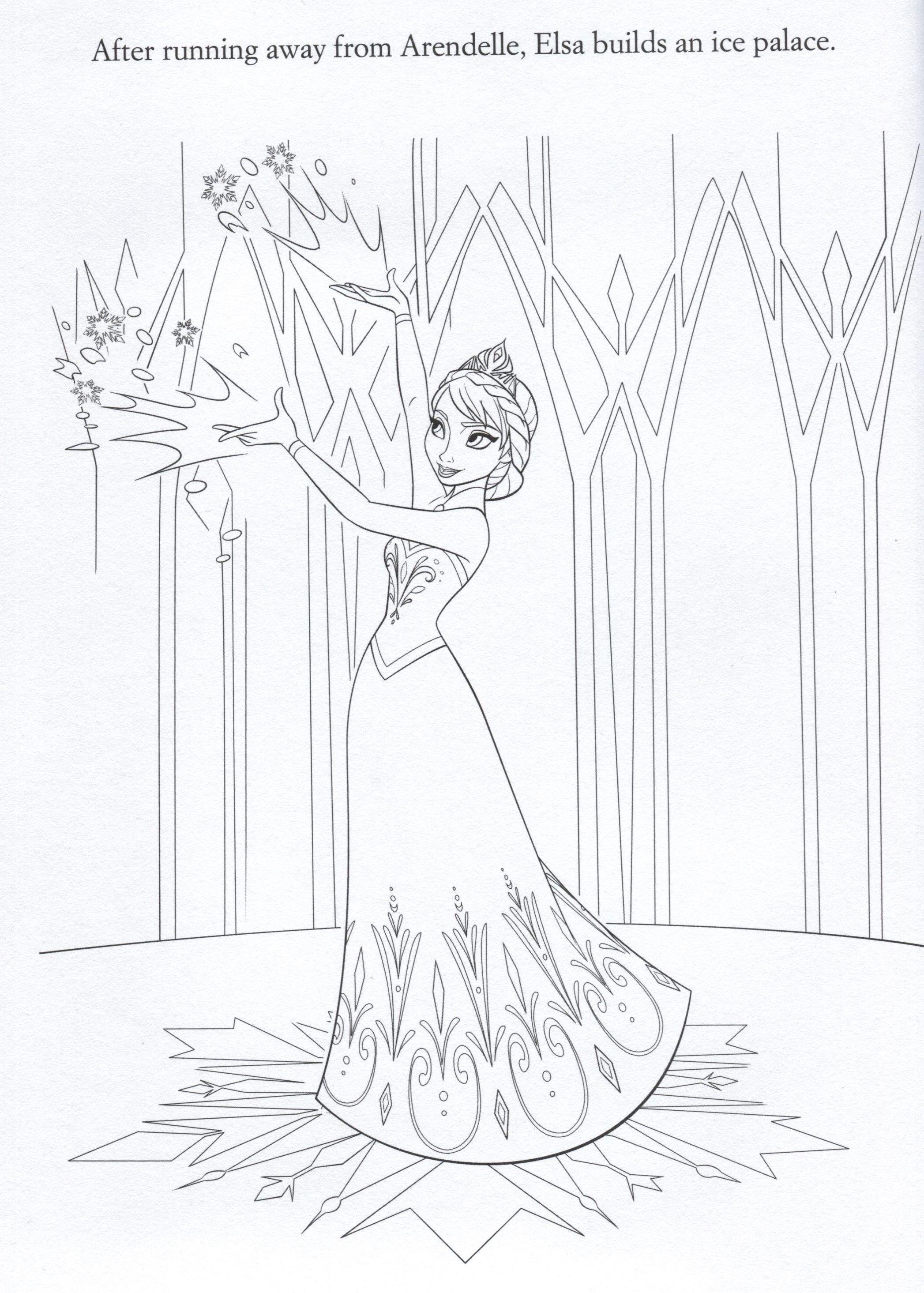 Frozen Coloring Page Elsa Building Her Snow Castle Disney