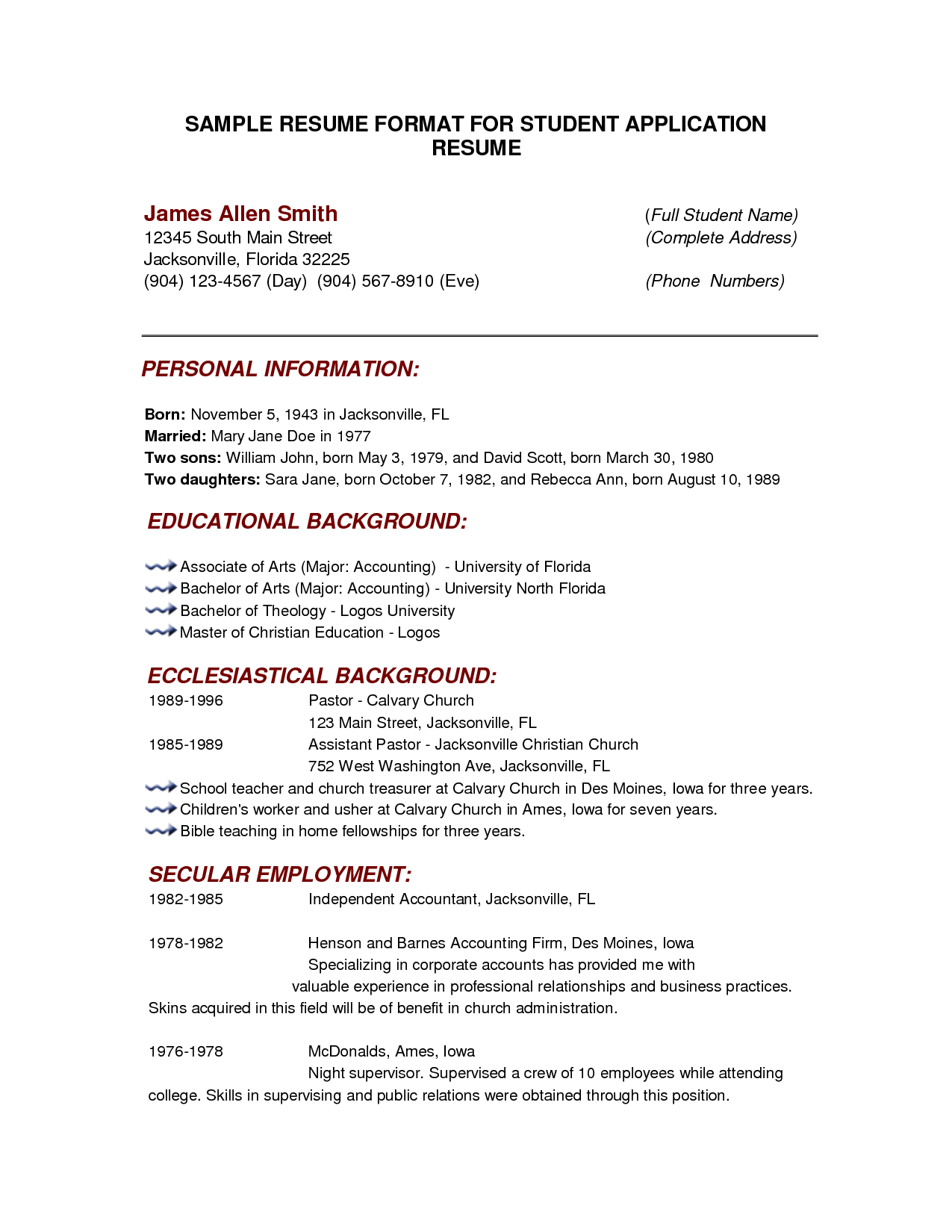 resume format with example - Basic Resume Format Examples