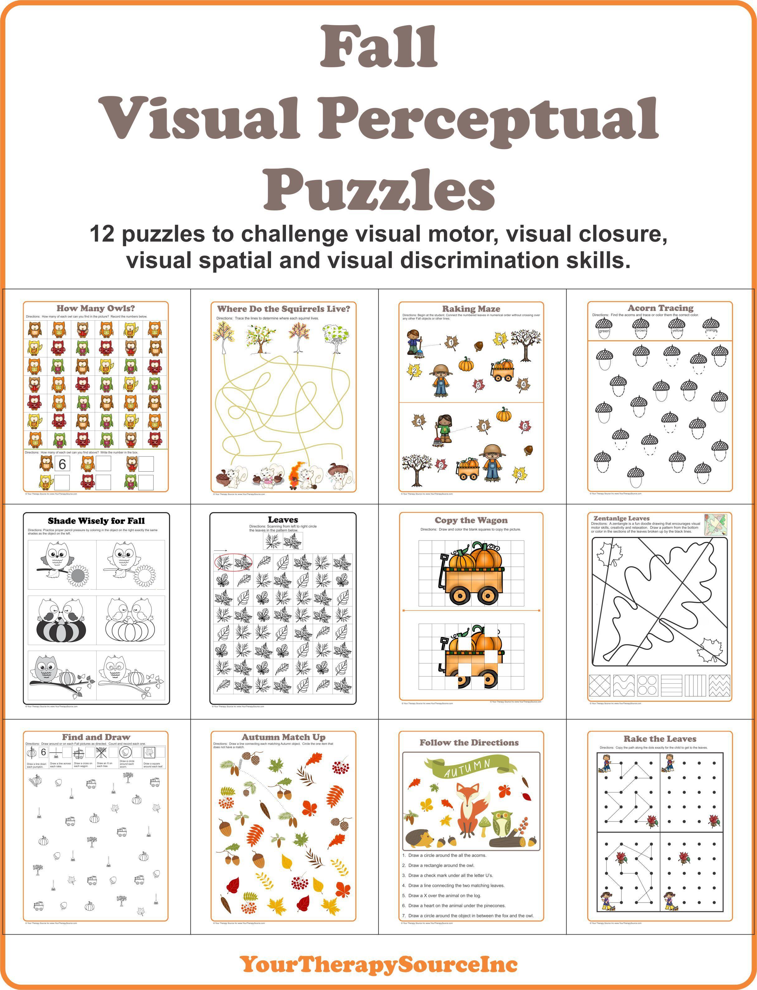 Fall Visual Perceptual Puzzles To Challenge Visual Motor