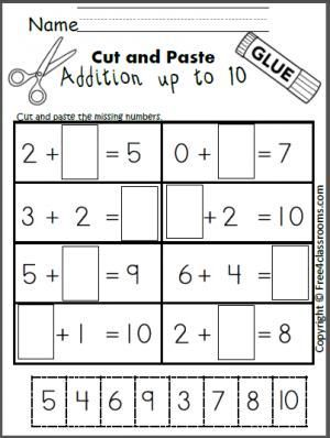 Free cut and paste addition math worksheet for adding up