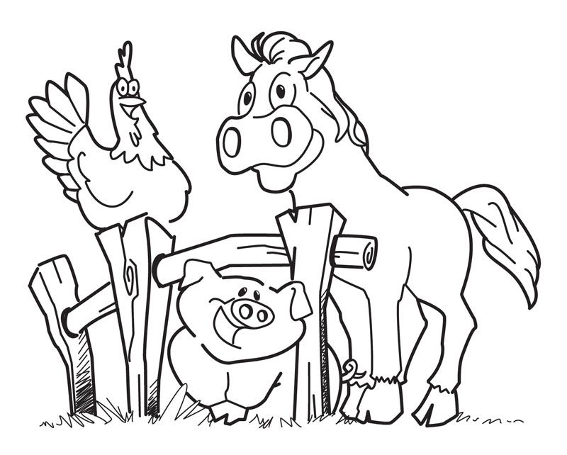 Farm animal theme coloring pages are a great way to teach