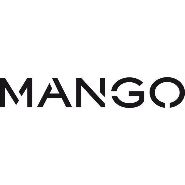 Mango logo liked on Polyvore featuring text, words