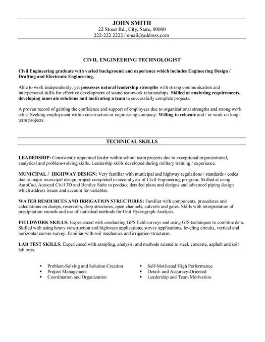Click Here To Download This Civil Engineering Technologist Resume