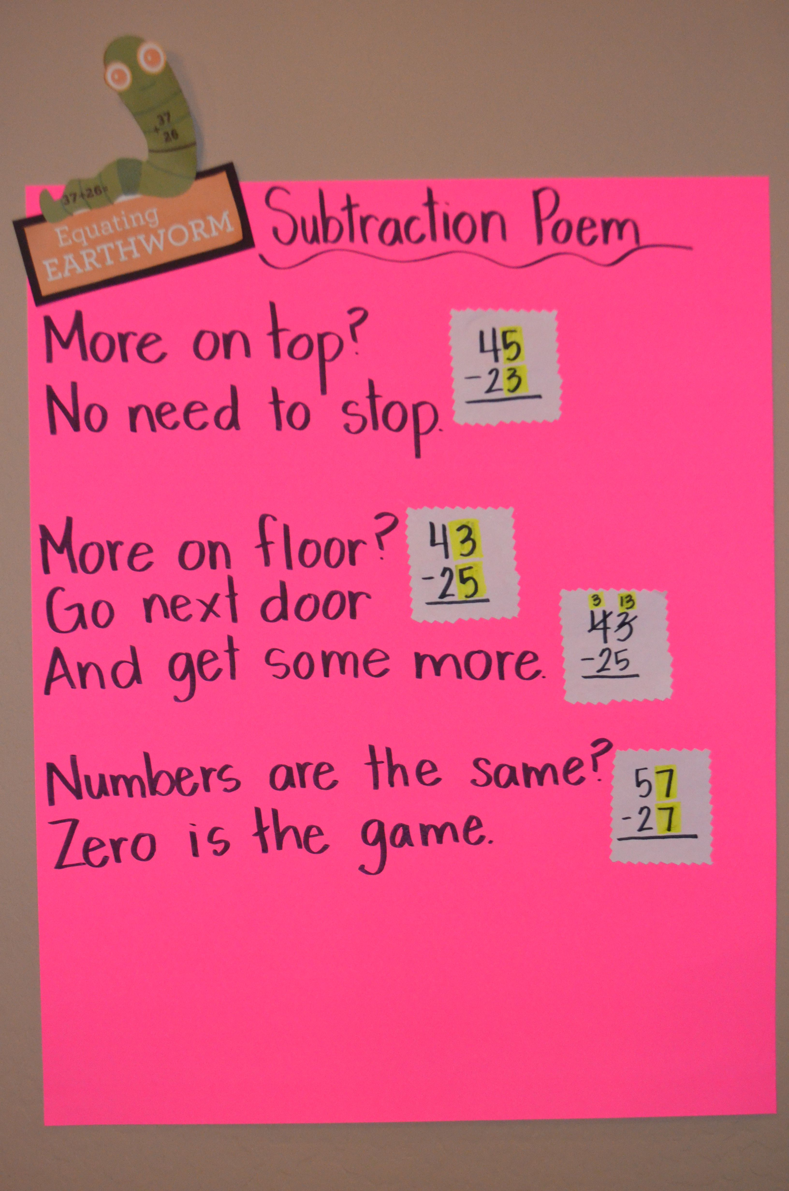 Subtraction Poem Equating Earthworm Math Intervention Strategy Number Sentence Equations